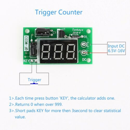 DC 12V Trigger Counter Module Accumulator 3Bit Red 0.36inch Digital Tube Display