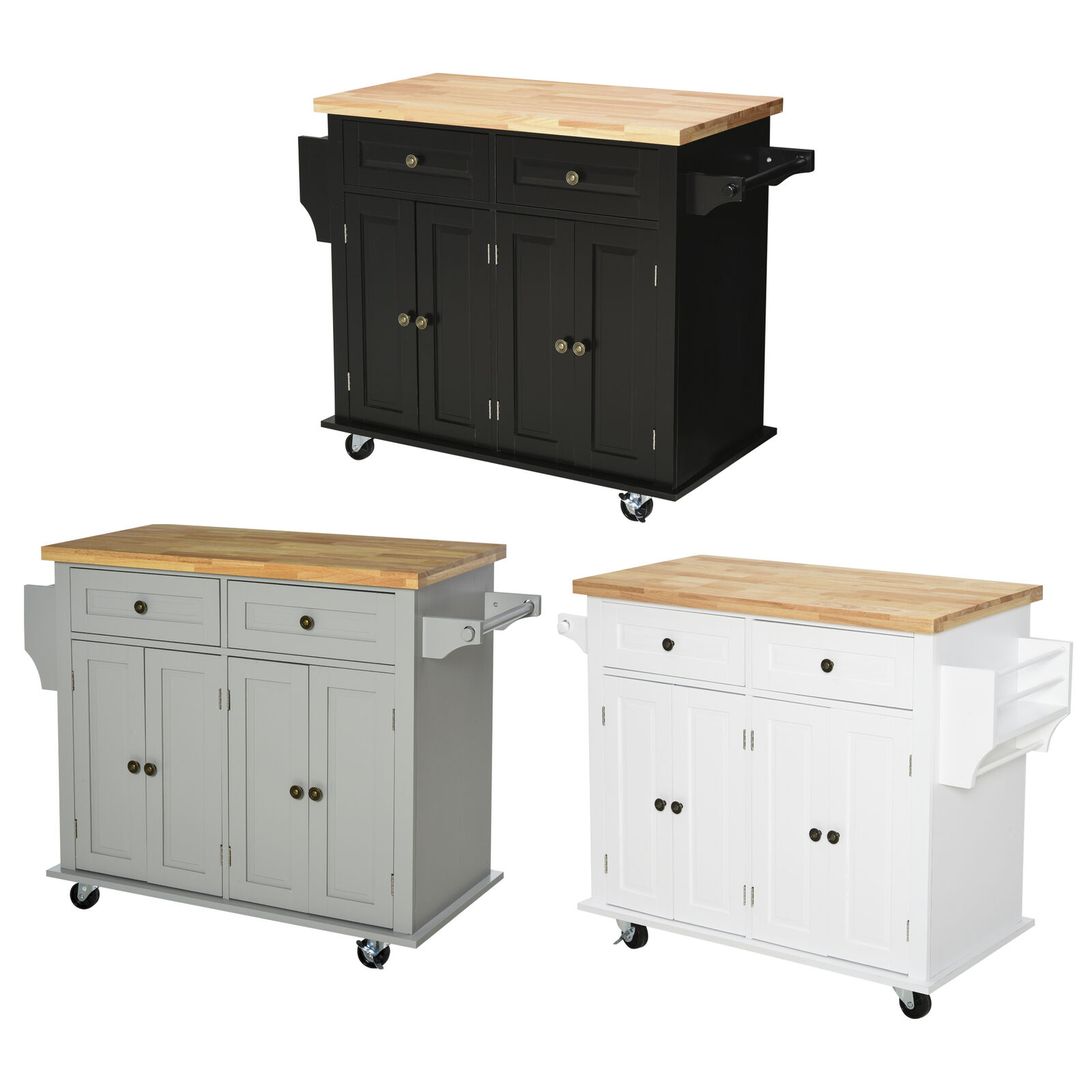 Image of: Wood Portable Kitchen Cart Rolling And Island Storage With Handle In White For Sale Online Ebay