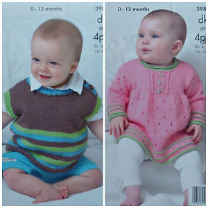 3751ce29f KNITTING PATTERN Baby Striped Sleeveless Sweater   Angel Dress Top ...