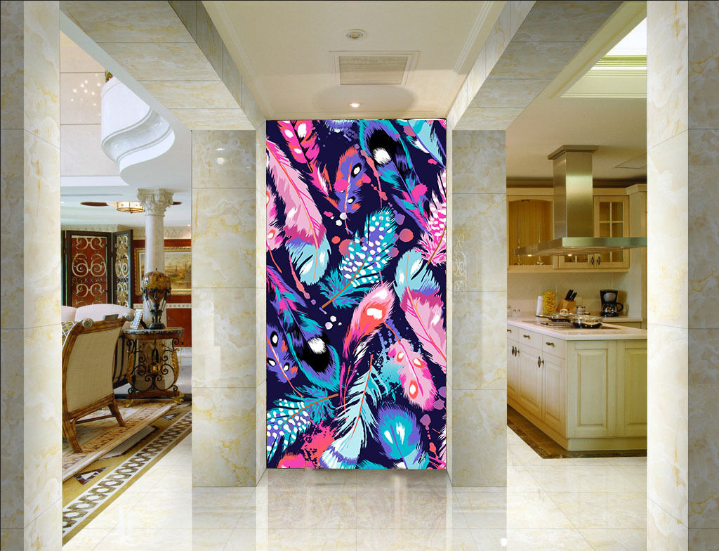 3D Farbe Feather Painting 23 Paper Wall Print Wall Decal Wall Deco Indoor Murals