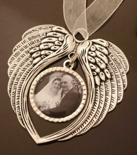 Personalised Photo Christmas Tree Bauble Decoration Angel Wings In Memory Gift