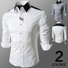 Slim Fit Polo Dress Shirt Long Sleeve Mens T-shirt Tops Casual Formal Work Tees