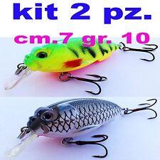 kit 2 pezzi artificiali pesca spinning esca artificiale black bass trota lago