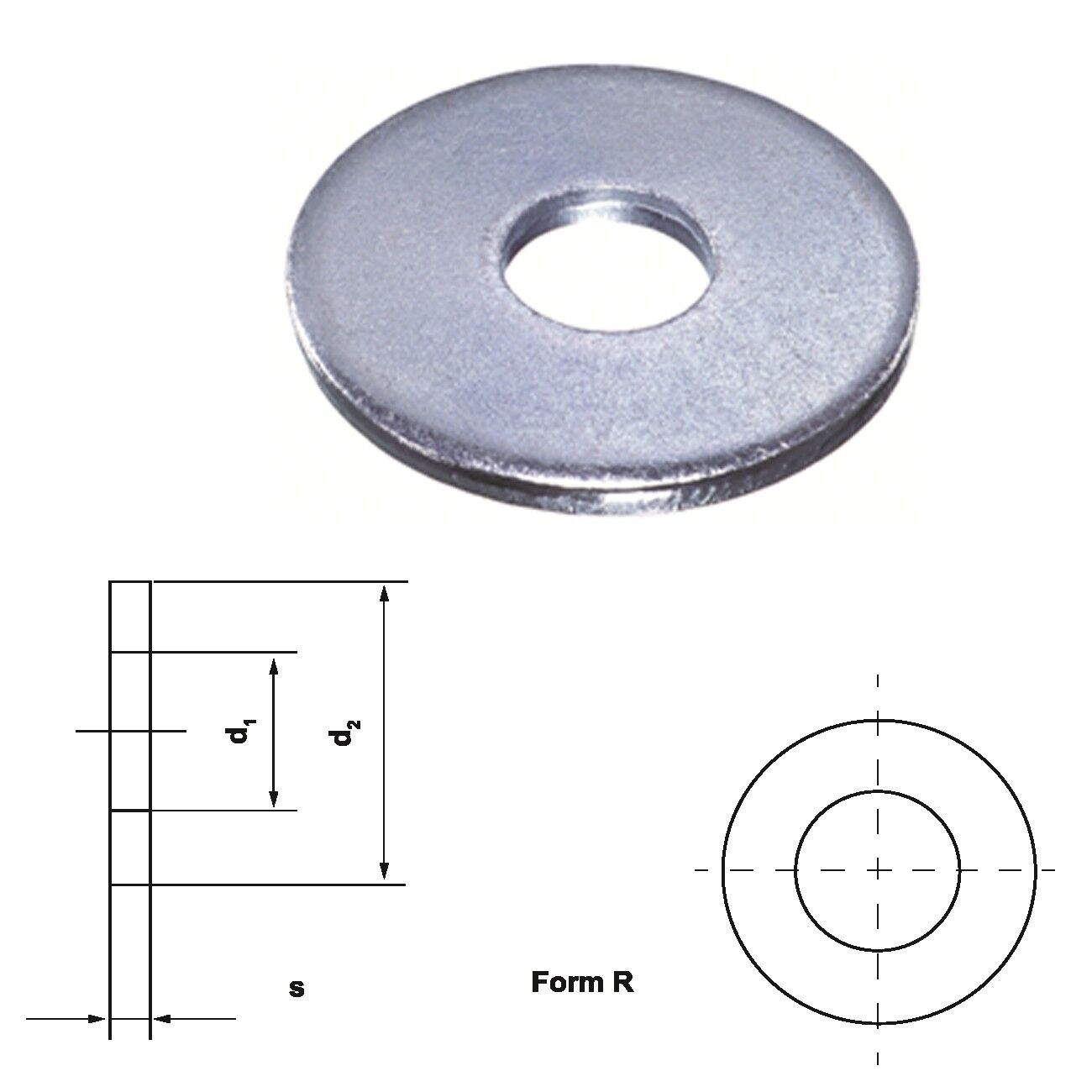 Unterleg Scheibe Form R DIN 440 verzinkt Ø 5.5 - 24.0 mm