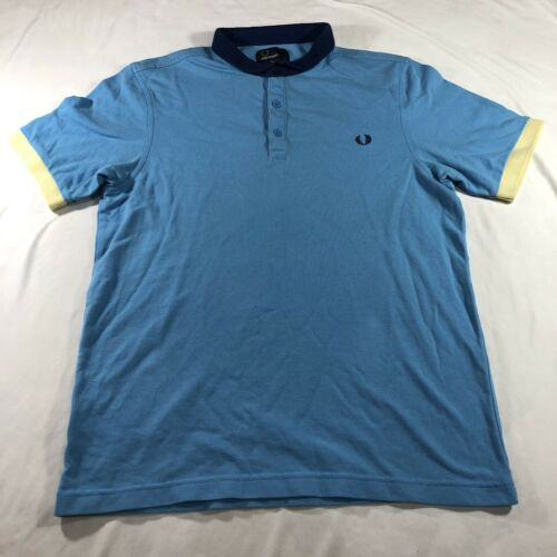 Fred Perry Knit Polo Shirt Sky Blue Color Block L