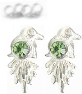 Neu 925 Silber Ohrstecker Vögel Swarovski Steine Peridot/grün Ohrringe Vogel Folkloreschmuck