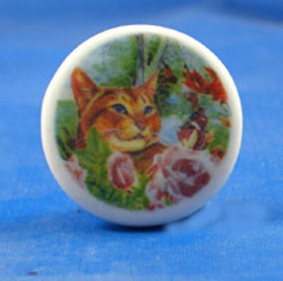 "1""  PORCELAIN CHINA  BUTTON -- GINGER CAT IN FLOWERS"