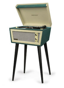 crosley sterling cr6231d gr 2 speed turntable record player green cream w stand ebay. Black Bedroom Furniture Sets. Home Design Ideas