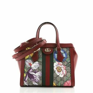 Gucci Ophidia Top Handle Tote Flora GG Coated Canvas Small
