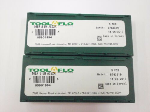 10pc ToolFlo 16ER 8UN AC22R Laydown Coated Carbide 8 TPI Threading Inserts