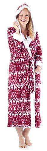 Women/'s Sleepwear  Ultra Soft Plush Fleece Sherpa-Lined Hooded Robe