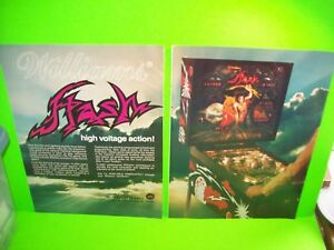 Williams-FLASH-1979-Pinball-Machine-2-PAGE-Pull-Out-Advertising-Ad-Sheets-Nice