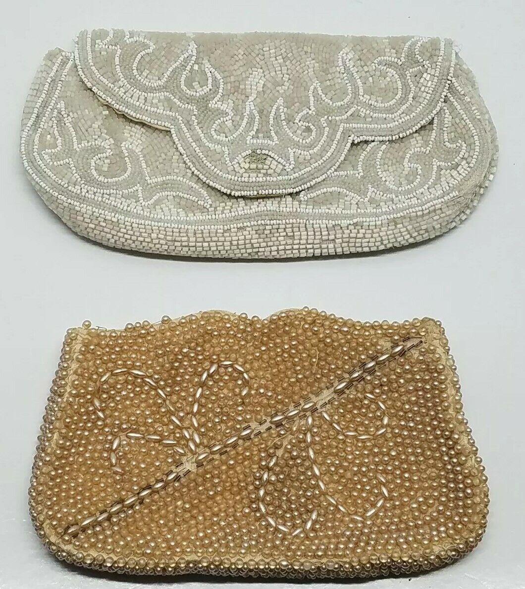 2 Vtg Handmade White Pearl Accent Beaded Clutch Purse Lot France Debbie Japan