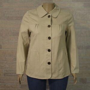 Denim & Co MEDIUM Khaki Beige Stretch Denim Button Front Jacket Pockets
