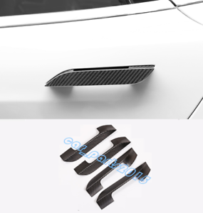 4x Carbon Fiber Car Outer Door Handle Trim Cover For Tesla Model  X 2014-2019