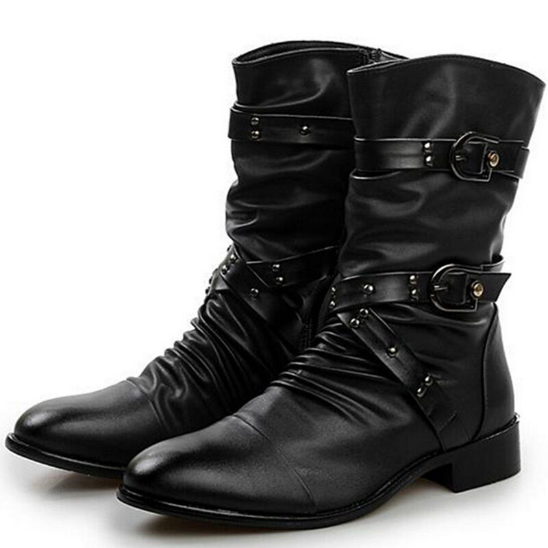 Vintage Gothic Rock Mens Ankle Boots Punk Zipper Buckle Belt Pointy Toe Shoes
