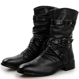 Vintage Gothic Rock Mens Ankle Boots Punk Zipper Buckle Belt Pointy Toe Shoes