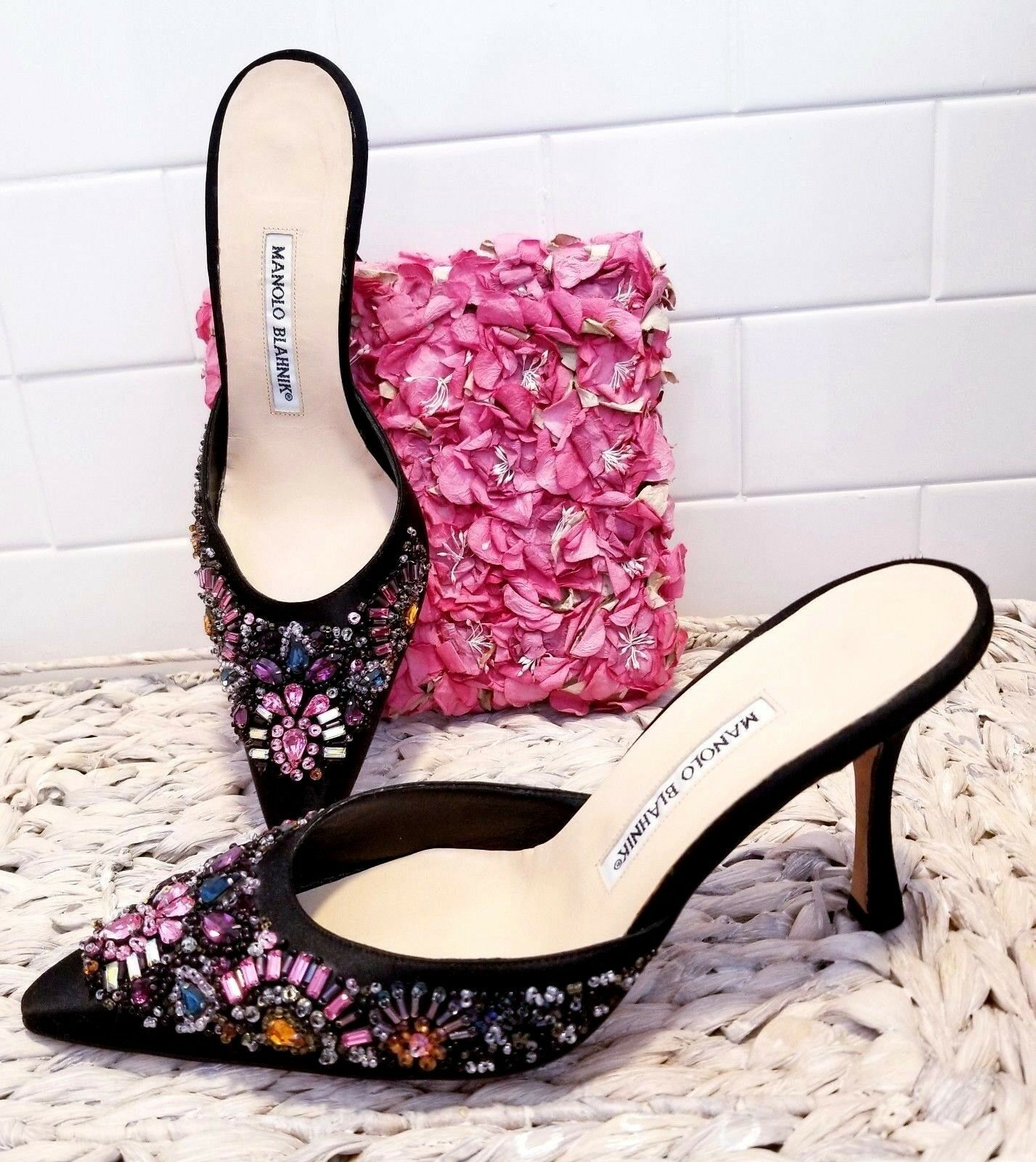 MANOLO BLAHNIK BLACK SATIN JEWELED CRYSTAL STILETTO HEELS SHOES MULES 39 9 $1.3K