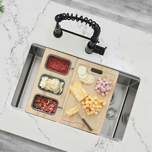 Workstation serving board with 3 containers (fit 17 inches ledge)