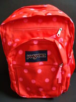Jansport Girls Big Student Backpack Book Bag Padded Pack School Polka Dot