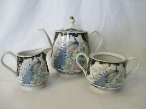 Vintage-Exquisite-Peacock-and-Gilt-Intricate-Service-Set-Tea-Pot-Creamer-Sugar