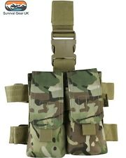 BTP / MTP STYLE CAMO MOLLE M4 DOUBLE MAG DROP LEG POUCHES ARMY AIRSOFT MILITARY