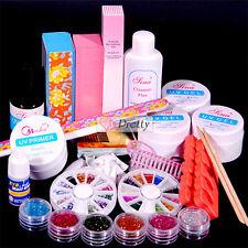Pro Acrylic Powder Glitter French Nail Art Brush Glue UV Gel Tips Tools Kit Set