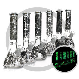 12.5 inch Sandblast Glass Bong 7 mm Thick Electroplated Tobacco Water Pipe /& USA