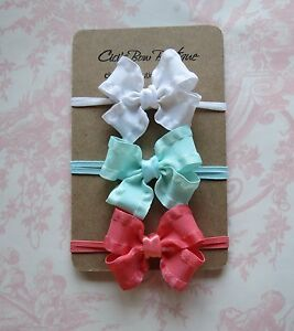 Gift set 3 small hair bows skinny headbands double ruffle Preemie ... 28c6bffe3a7
