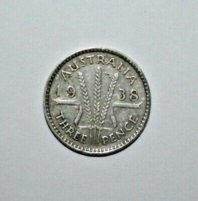 1938  3d  Australia George VI Sterling Silver Threepence very Nice