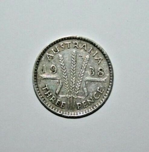 very Nice 1938  3d  Australia George VI Sterling Silver Threepence