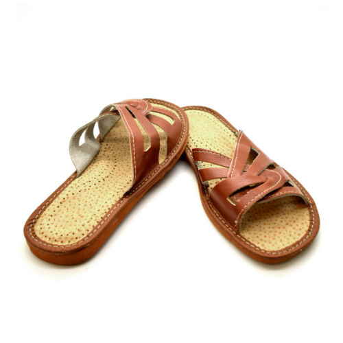 BROWN Womens Ladies Slippers Shoes Sandals Size 3 4 5 6 7 8 Eco Leather KP1