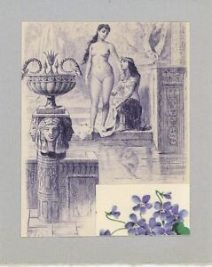 ANTIQUE-VINTAGE-ARTISTIC-NUDE-WOMAN-EYGPTIAN-POOL-VIOLETS-FLOWERS-COLLAGE-PRINT