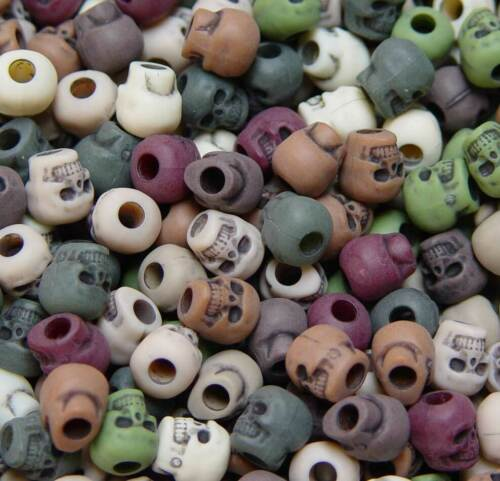 Camouflage Skull Pony Beads made in USA Halloween Goth paracord jewelry crafts