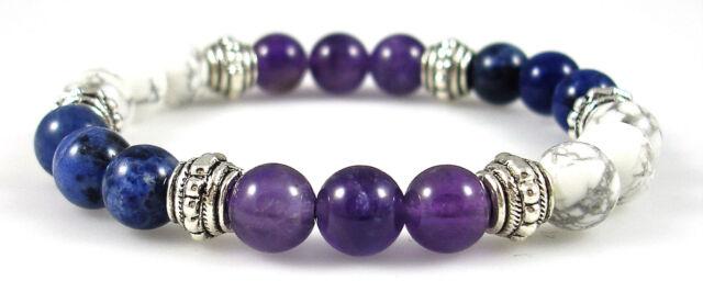 THROAT CHAKRA BALANCER 8mm Crystal Healing Gemstone Intention Bracelet