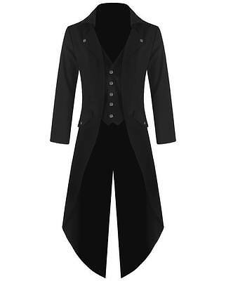 New Banned Mens Steampunk Tailcoat Jacket Black Gothic Victorian Coat