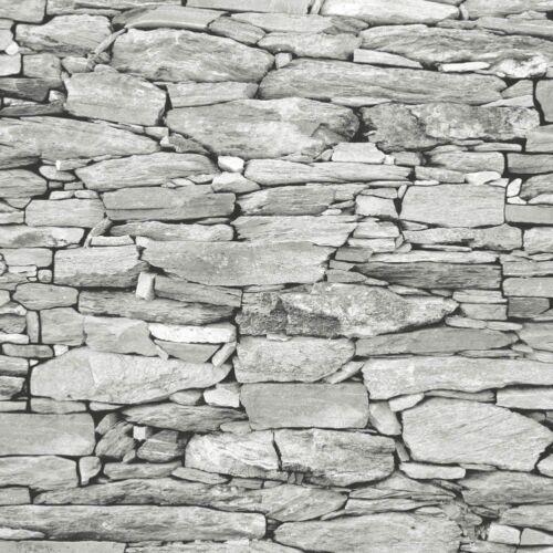 NEW Brick Effect Wallpaper Slate Stone Rustic grey