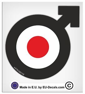 100mm-4'' Male Symbol Black target Laminated Decals Stickers for Vespa GTS GTV