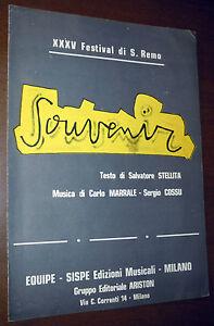 SPARTITO MATIA BAZAR Souvenir (Equipe/Sispe 1985) Italian synth pop Sanremo RARO