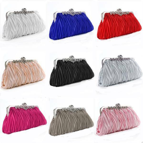 Women Satin Crystal Clutch Party Wedding Purse Soft Evening Bag Bridal Handbag