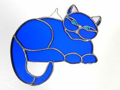 Stained Glass Sun Catcher Cat Vintage