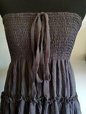 Lapis Multi Way Dress Skirt Combo Gray Lace Trim Ruffles Boho Hippie Size M