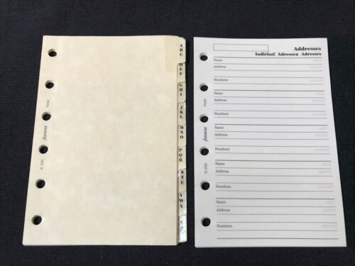 FILOFAX-Pocket A-Z Dividers Marbled Cream Card PVC Tipped//Lined //Address Sheet