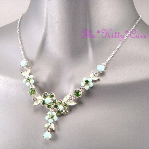 Deco Vintage Plata Verde Hollywood Prom Floral Collar C Cristales Swarovski