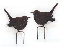 Beetstecker Vogel 2 Stück Metall Garten Stecker Figur Dekoration Spatz Edelrost