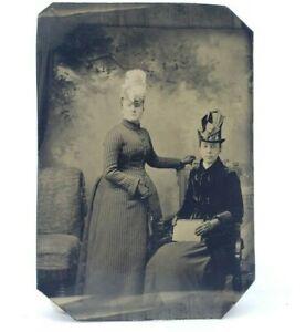 Antique-Victorian-Tintype-Photograph-Painted-Blush-Fancy-Women-Hats-amp-Dresses