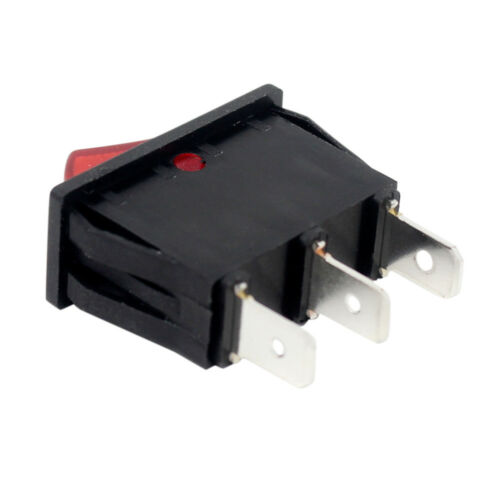 Zing Ear ZE-235L Red Lighted Rocker Switch ON OFF 3 Prong Snap-in 16A 120V Black