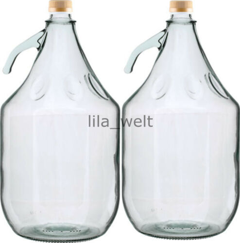 2 STÜCK Gärballon Flasche Glasballon Weinballon Glas Ballon  Glasflasche 5L NEU