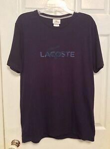 Lacoste-Men-039-s-T-Shirt-Sz-5-Medium-Short-Sleeve-Navy-Blue-Regular-Fit-NWT