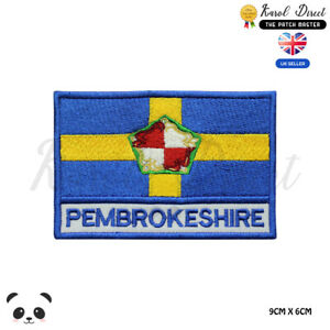 PEMBROKESHIRE-Wales-County-Flag-With-Name-Embroidered-Iron-On-Sew-On-Patch-Badge